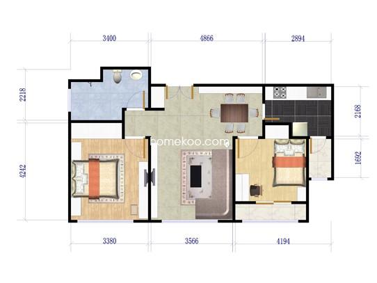 A户型图2室2厅1卫1厨 88�O
