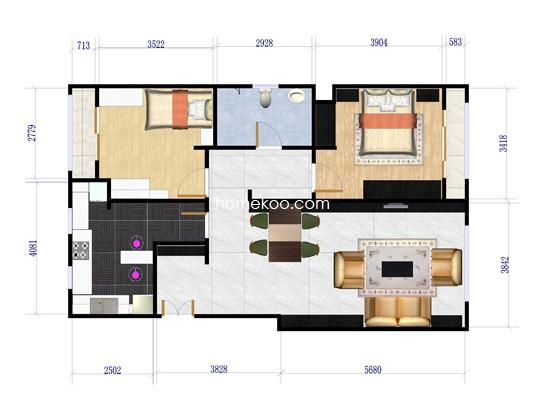 B1户型图2室2厅1卫1厨 110�O