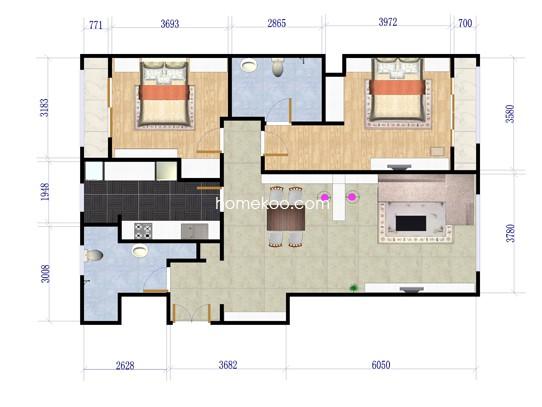 B2户型图2室2厅2卫1厨 120�O