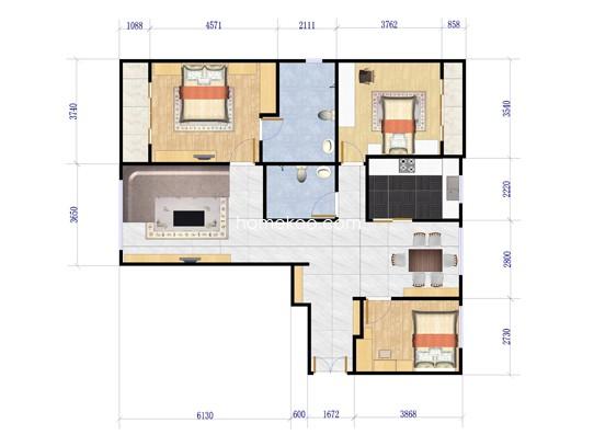 C2户型图3室2厅2卫1厨 140�O