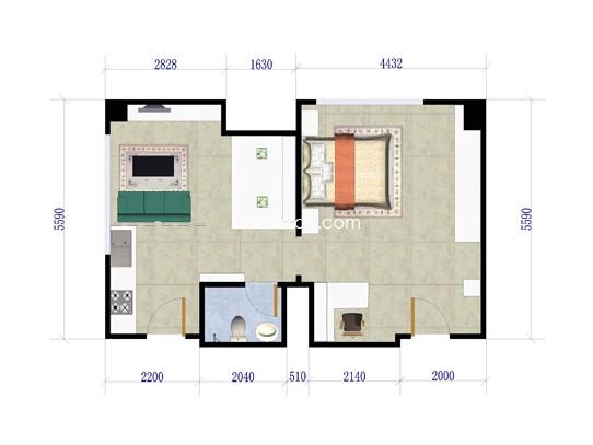C户型图1室1厅1卫1厨 63�O