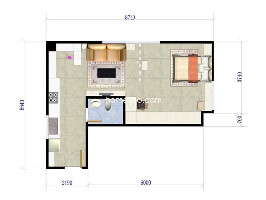 G户型图1室1厅1卫 58.87�O
