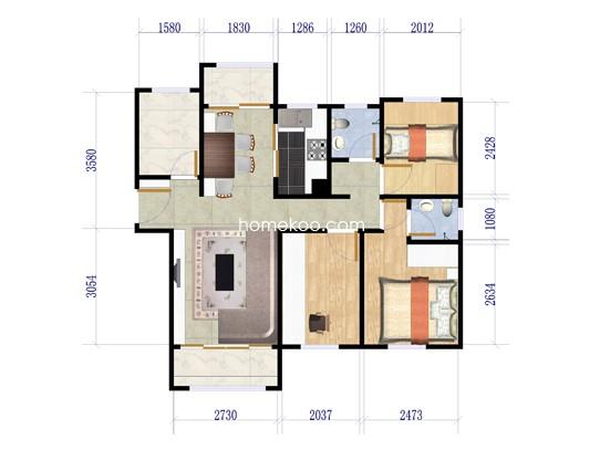 G1户型三房二厅二卫 125�O