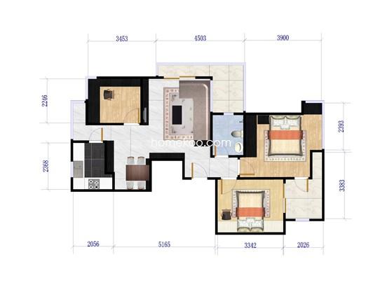 5C户型三房二厅一卫