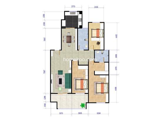A户型3房2厅2卫 138�O