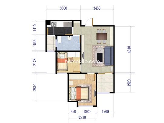 A1户型3室2厅1卫 64�O