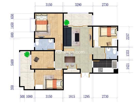 B3户型4室2厅2卫 123.15�O
