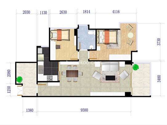 1栋C、D户型三-三十一层12室2厅1卫1厨 84�O
