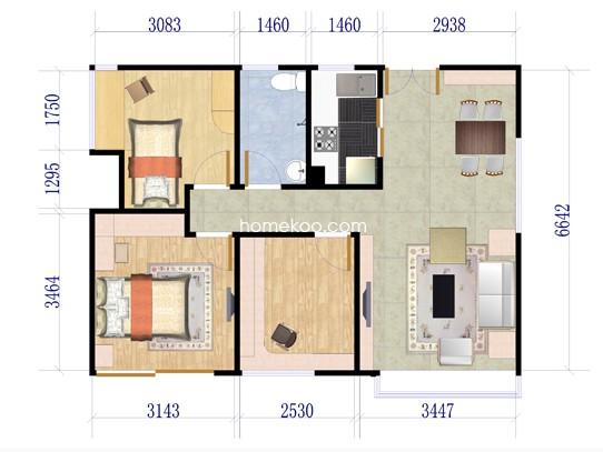 二期5栋G户型3室2厅1卫1厨 90�O