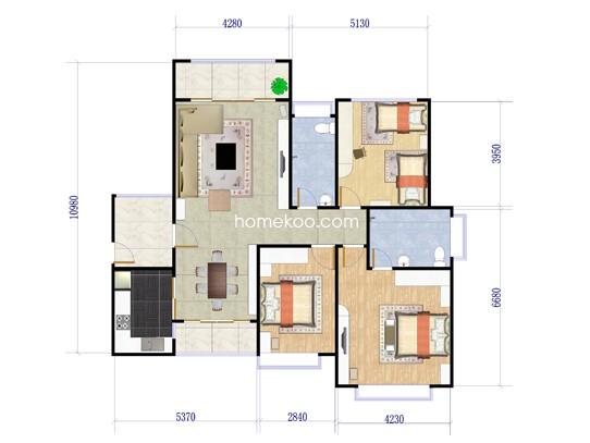 雅居三房3室2厅2卫1厨 122�O