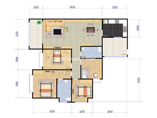 臻美4室2厅2卫1厨 136�O