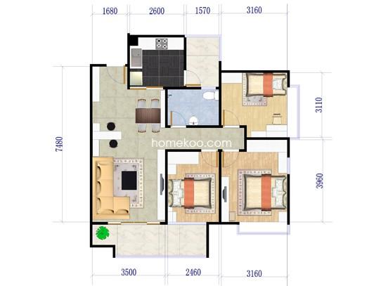 B18栋02单元3室2厅1卫1厨 95�O