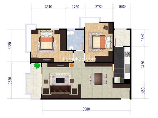 B18栋03单元2室2厅1卫1厨 85�O