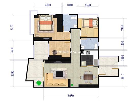 B19栋02户型3室2厅2卫1厨 99�O