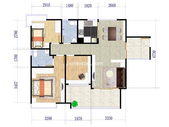 B19栋03户型3室2厅2卫1厨 99�O