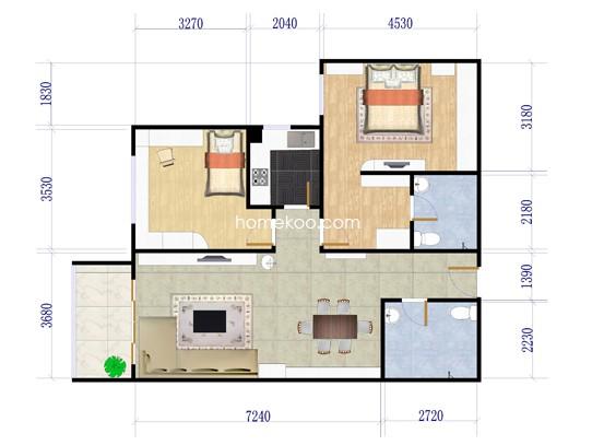 1-B2户型2室1厅2卫1厨 111�O