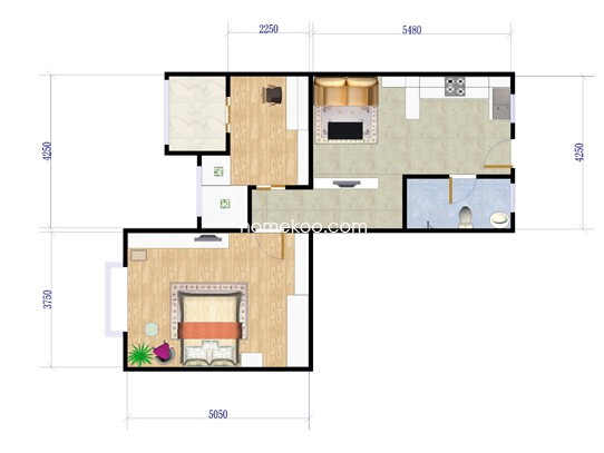 2室1厅1卫 63�O