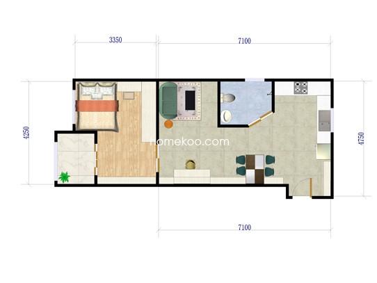 红钻公寓户型图 57�O