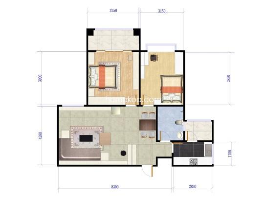 B2户型图2室2厅1卫户型图