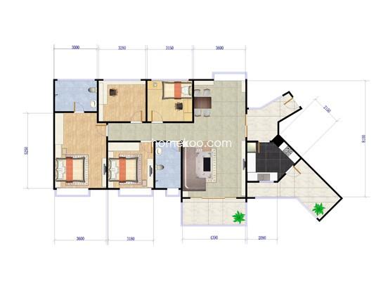 C户型4室2厅2卫1厨 125�O