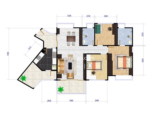 B型3房2厅2卫 83.94�O