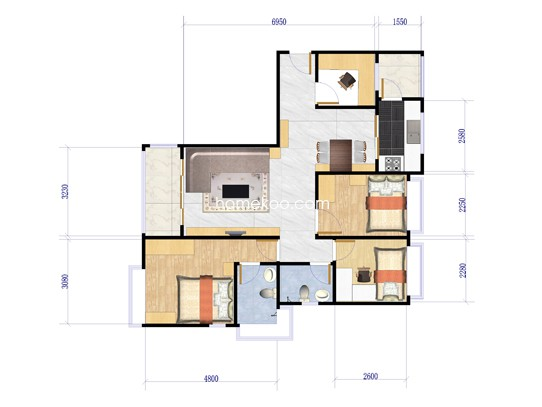 C栋01单位4室2厅2卫1厨 145�O