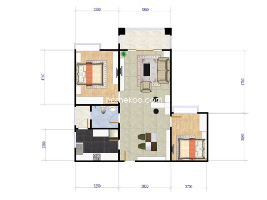 绿韵街10栋-04单元两房二厅一卫