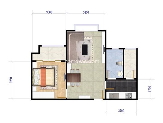 水晶宫寓A栋2号一房两厅一卫