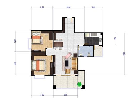 F户型2室2厅1卫1厨 93�O