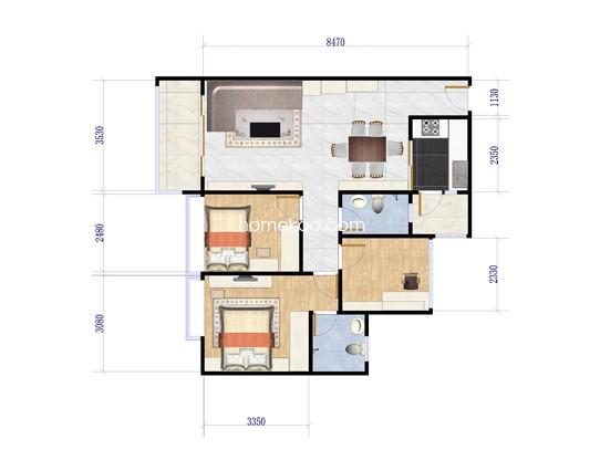 B座C/E户型二房二厅二卫 89�O