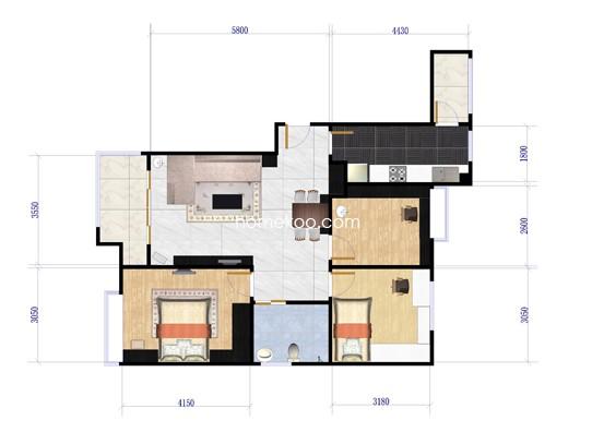 一期C户型3室2厅1卫1厨 90.30�O