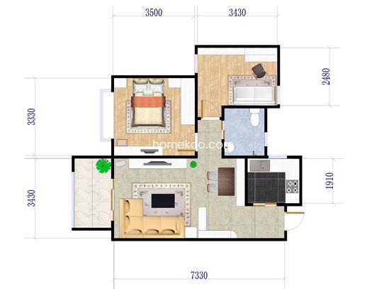 A6B户型图2室2厅1卫1厨 80.00�O