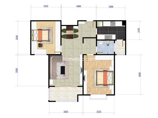 2室2厅1卫 95�O