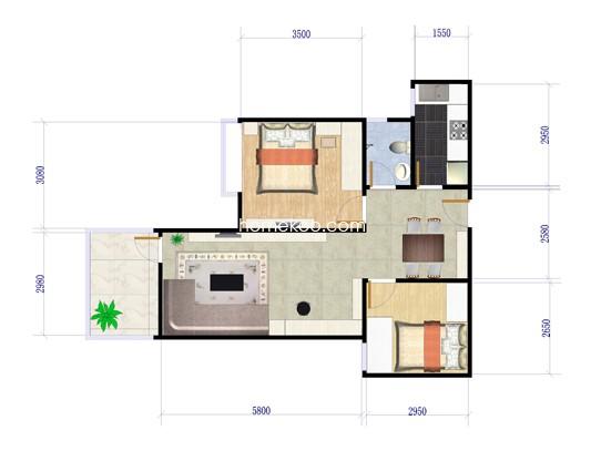 3室2厅1卫 126�O