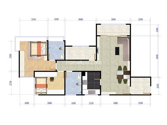 3、4栋0107户型2室2厅2卫1厨 87�O