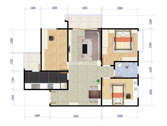 E户型3室2厅1卫1厨 84.80�O