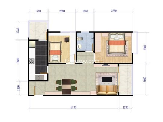 F户型2室2厅1卫1厨 63.68�O