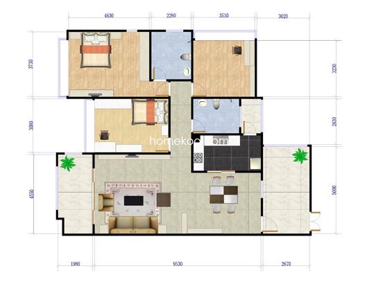 D户型3室2厅2卫1厨 114�O