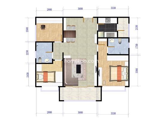 E2户型3室2厅2卫1厨 87�O