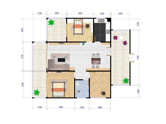 4栋C户型3室2厅1卫1厨 76�O