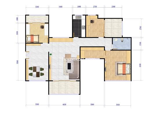 F户型3室2厅1卫1厨