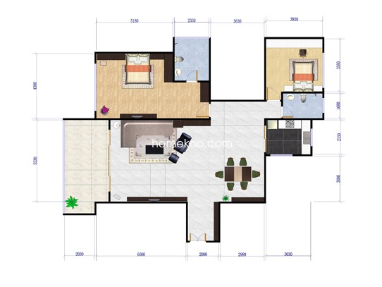 H户型2室2厅1卫1厨