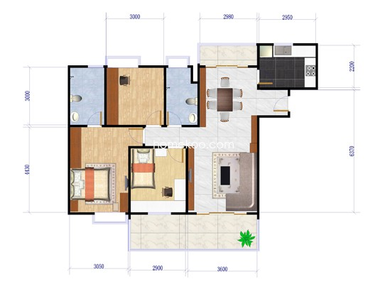 B1栋02户型3室2厅1卫1厨 79.33�O