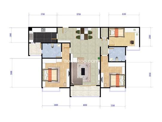B栋02单位3室2厅2卫1厨 124�O
