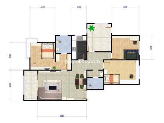 C3户型2室2厅2卫1厨