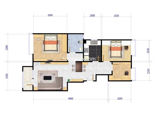 A户型3室2厅1卫1厨