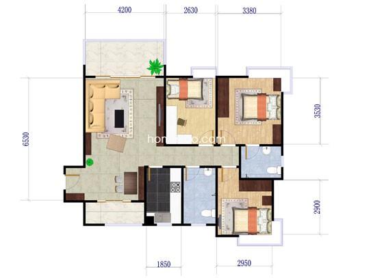 3栋05户型3室2厅2卫1厨 103.02�O