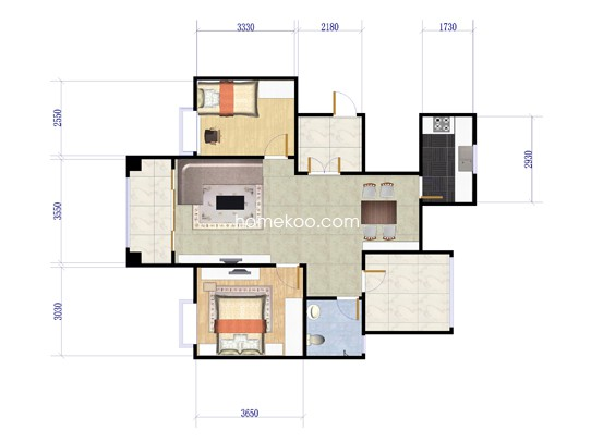 2室2厅1卫106�O