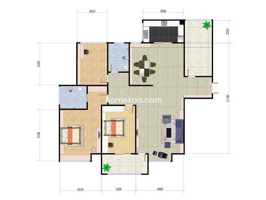3室2厅2卫 138�O