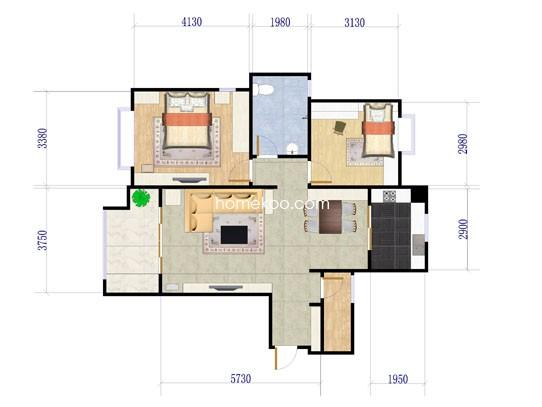2室2厅1卫 105�O